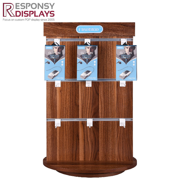 Rotatable Counter Wood Headphone Display with Double Site Hooks