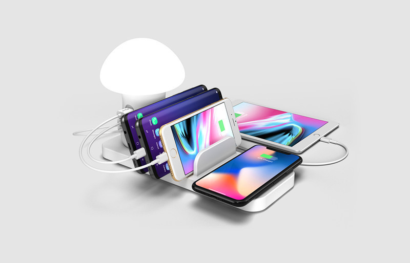 usb ,fast and wireless charger with table lamp