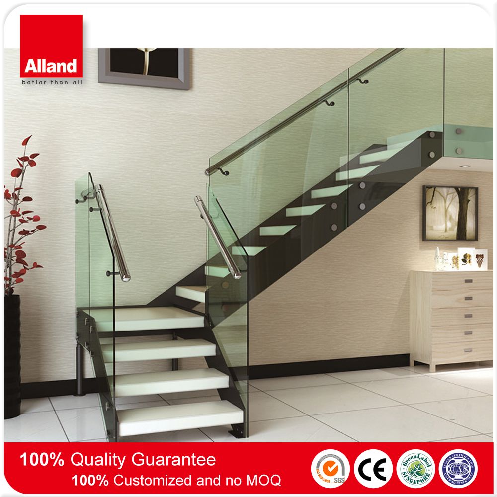 Indoor wrought iron glass straight staircase