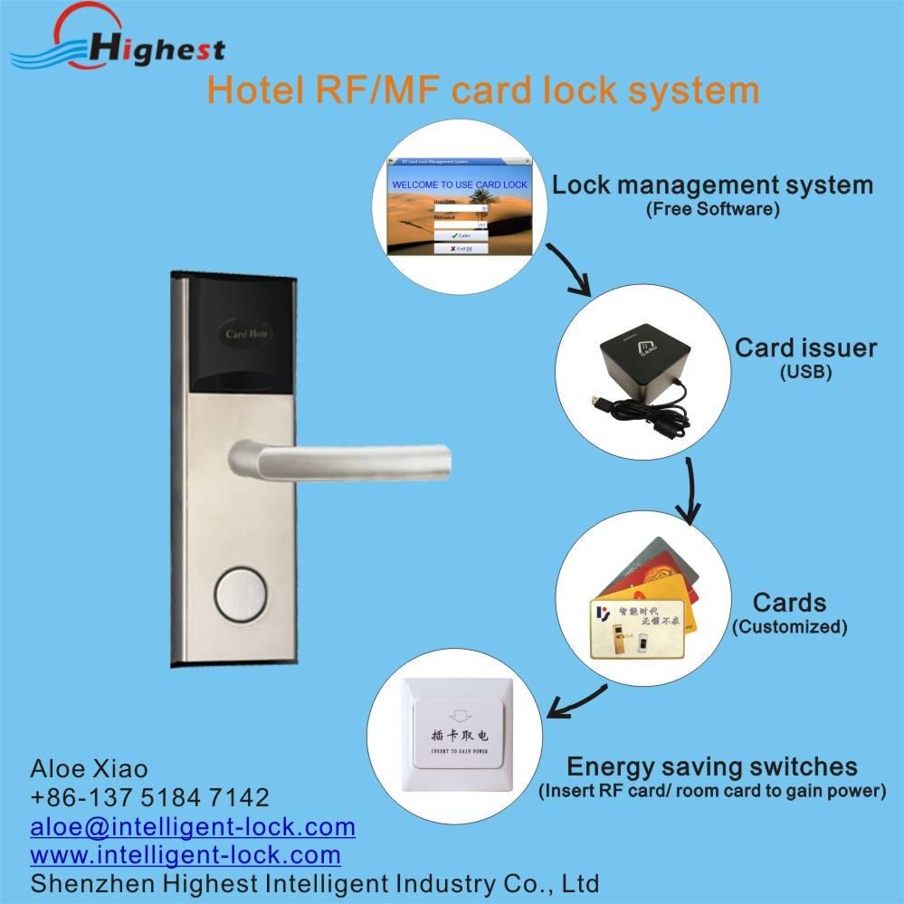 RX118E-Y-S1 RFID electric proximity card hotel door handle lock