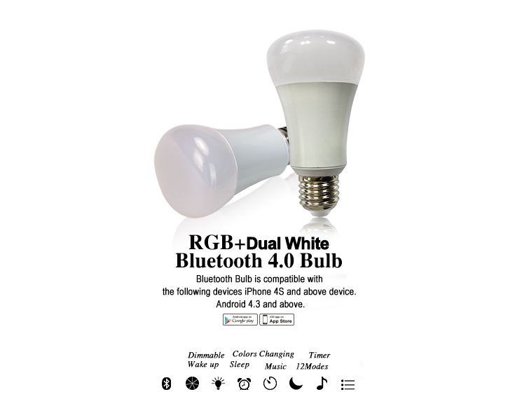 Long life span bluetooth music bulb, music playing+time+graviball shaking+color saturation changing