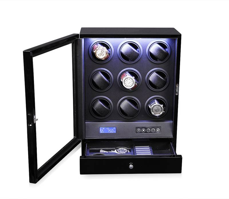 9 Rotors Automatic Watch Winder with LED Light