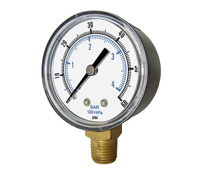 economical pressure gauge-plastic case, bottom connection