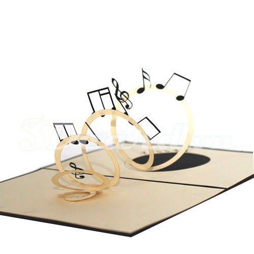 Flying Music Notes-Kirigami-Origamic-Laser cut-Paper cutting-3d-Pop up-Handmade-Birthday card