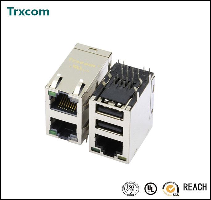 TRJU5511BBNL RJ45 Socket with USB combo
