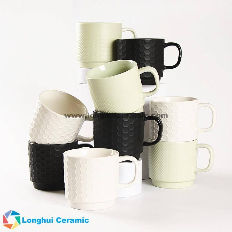 12oz Plaid embossed color ceramic coffee mug