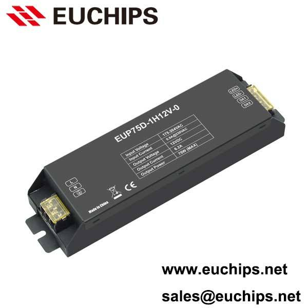 175-264VAC 75W 1 channel dali dimmable constant voltage led driver EUP75D-1H12V-0
