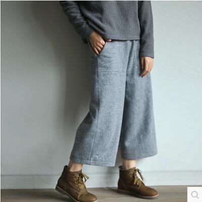 Wool,Wide-legged pants,Leisure joker,To keep warm