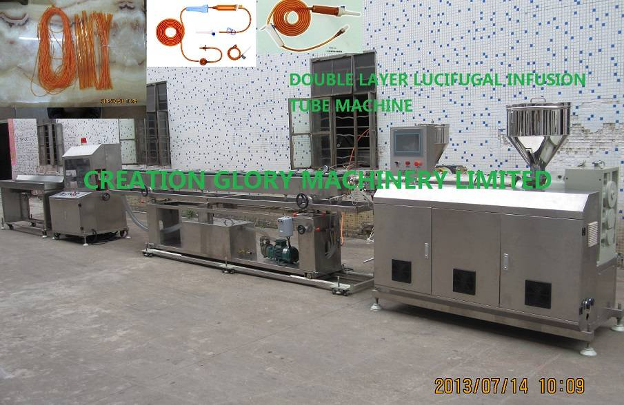 High precision double layer lucifugal infusion medical tubing plastic extrusion machine