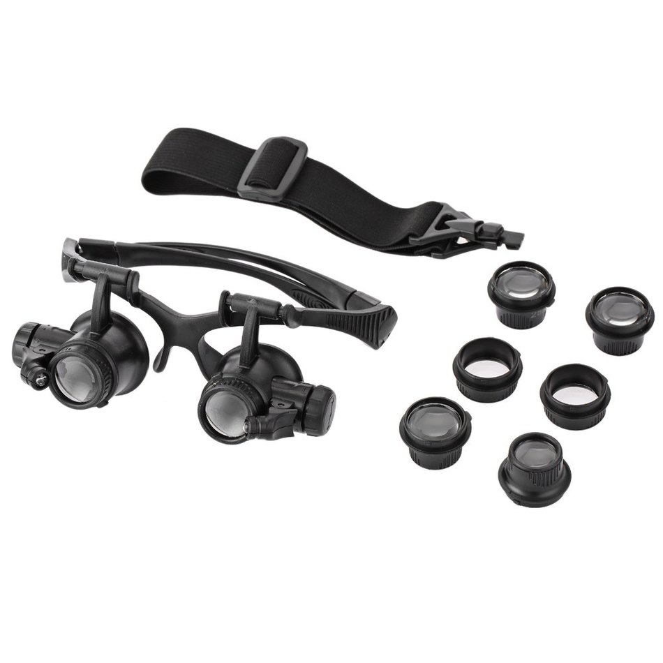 10X 15X 20X 25X Double eye Watch Repair Magnifier HeadBAND and Handfree with2 LED Lights