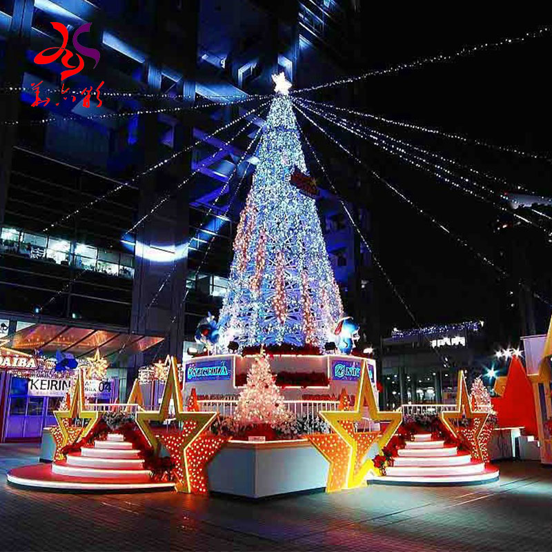 2020 New outdoor giant led lighting artificial Christmas tree factory