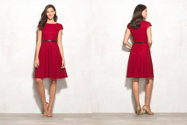 Fashion design ladies belted skater red cocktail dress