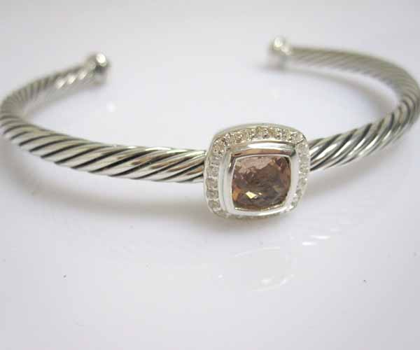 Sterling Silver Jewelry 4mm Silver Bracelet with Morganite (B-092)