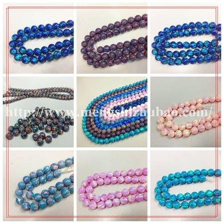 wholesale price 4mm round fire synthetic opal beads with drill hole