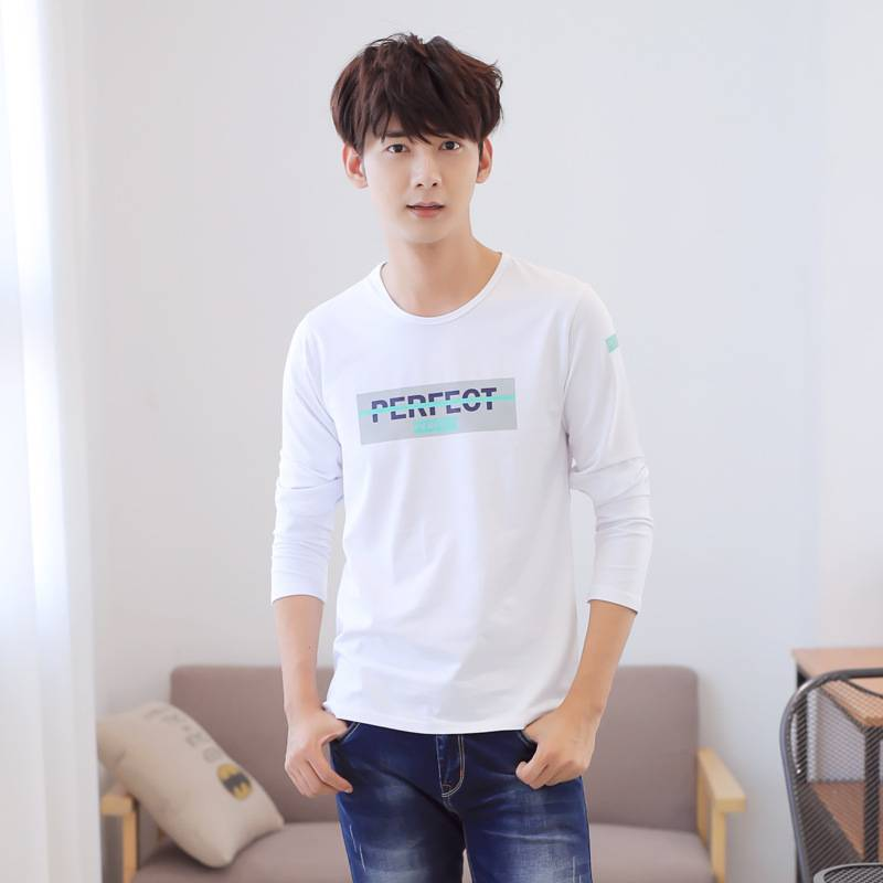 2016 new winter cotton printed T-shirt men's T-shirt Korean men's long-sleeved T-shirt men Factory o