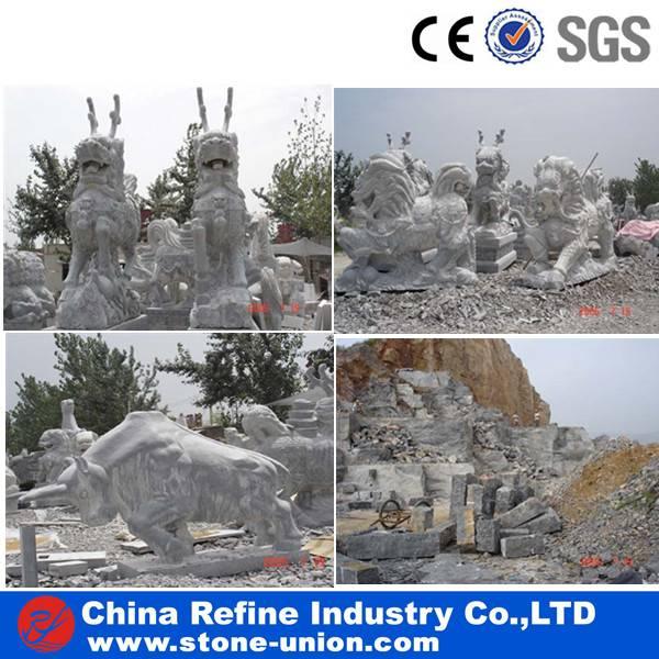 blue limestone animal sculpture