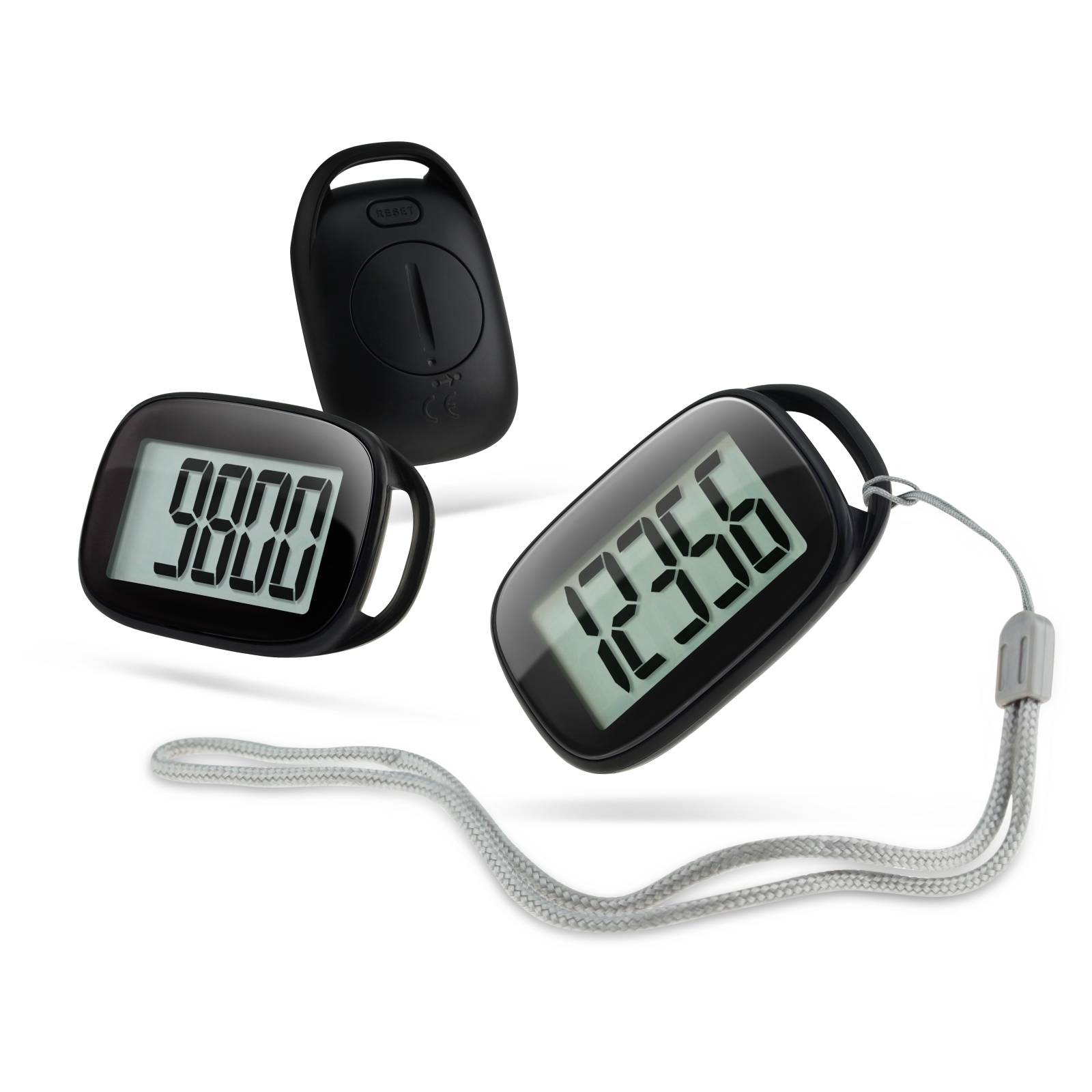 3D single function pedometer with hang rope
