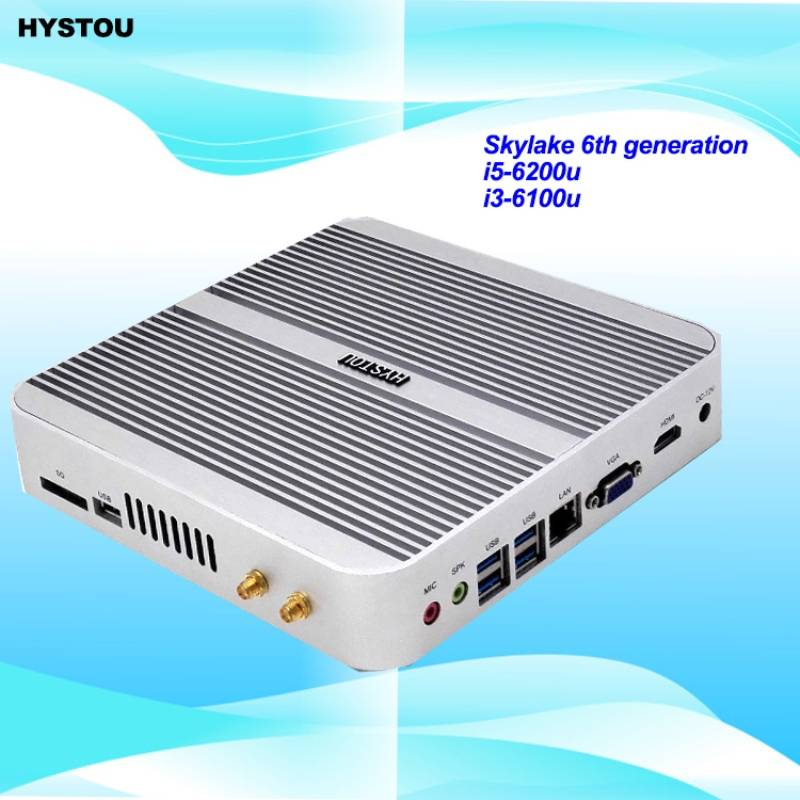 Fanless Mini PC 6th Gen Skylake Core i5 6200U Win10 Barebone industrial mini Computer