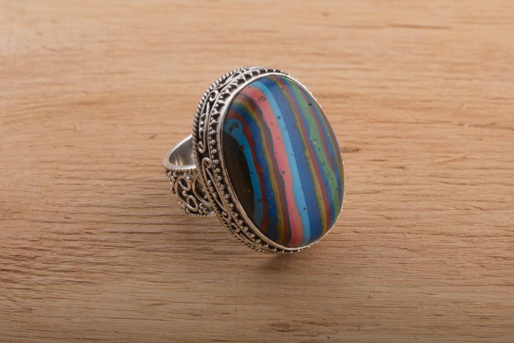 92.5 sterling silver Rainbow Calcica Ring