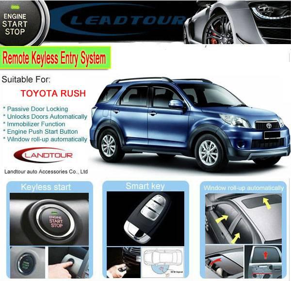 RFID keyless entry car alarm system push button start engine remote start engine for Toyota Rush Tha