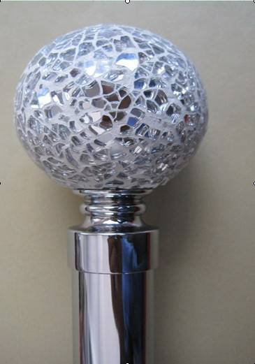 Glass Finial Curtain Pipe