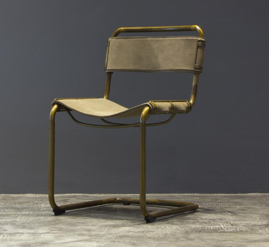 Vintage Metal Frame Leather Dining Chair