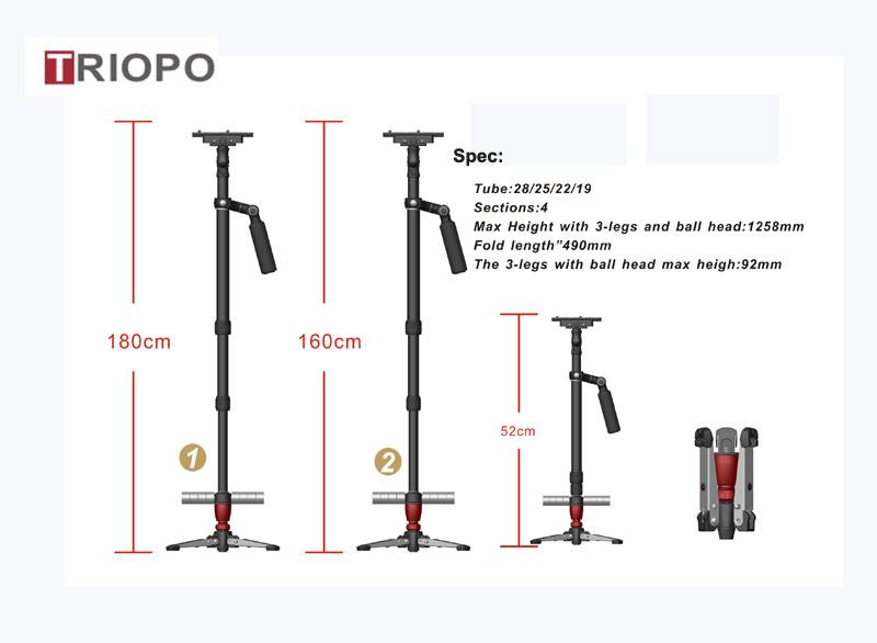 TRIOPO 2.5-5kg Load Pro Camera Steadicam Video Carbon/ aluminium Stabilizers