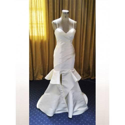 ELEGANT MERMAID MATTE SATIN SWEETHEART SPAGHETTI STRAPS SWEEP TRAIN WEDDING DRESS W8084