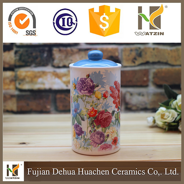 Wholesale decorative ceramic kitchen canister for food storage