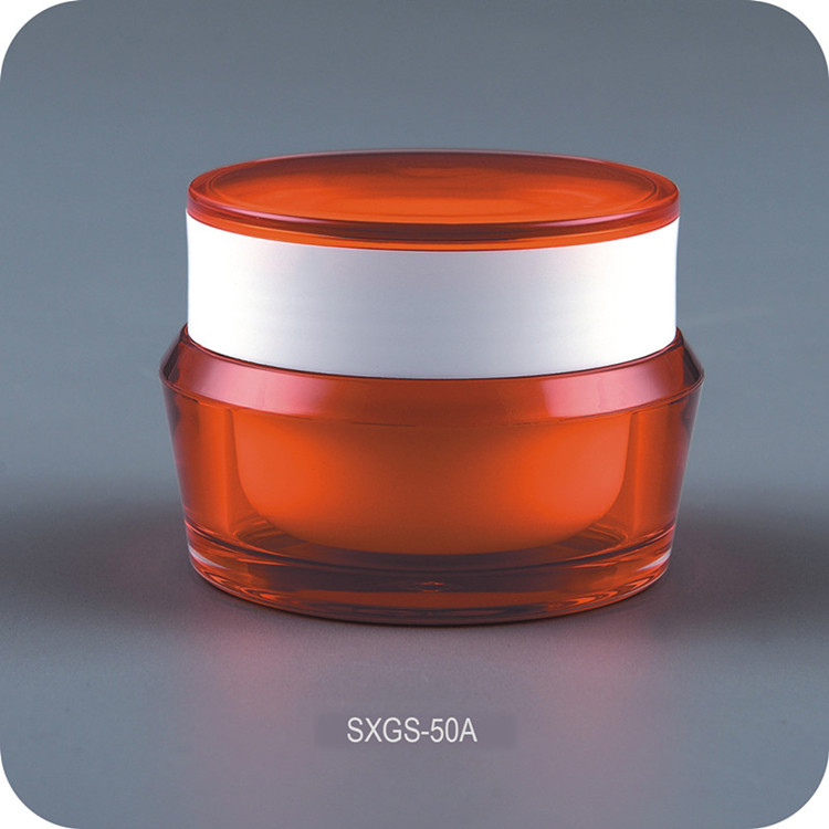 Fashion Luxury Double Color Lid Acrylic Cosmetic Jar for Facial Cream