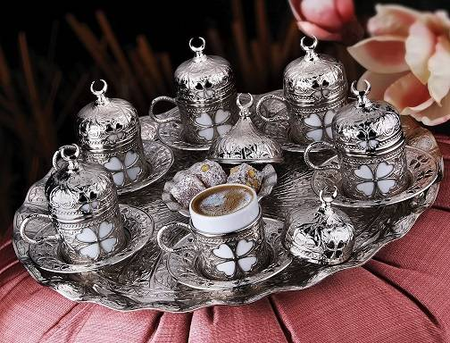 Coffee Set Clover Pattern 27 Pieces-Silver color