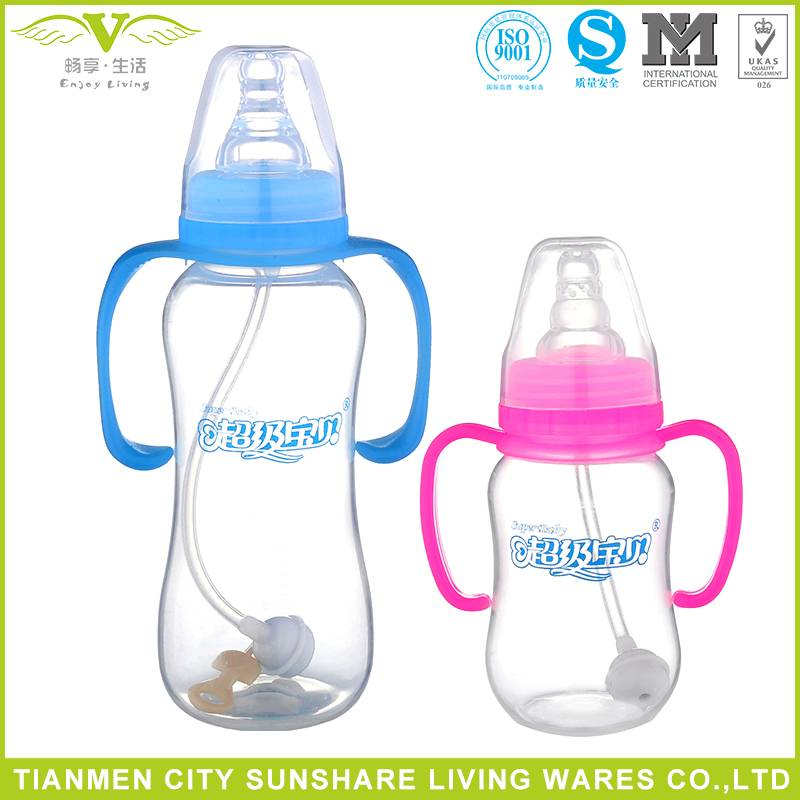 Best Selling BPA Free Standard neck PP Material Baby Feeding Bottle With Handle