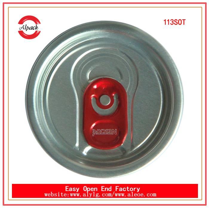 Wholesale aluminum easy cap 113#SOT beverage easy open end for drinks