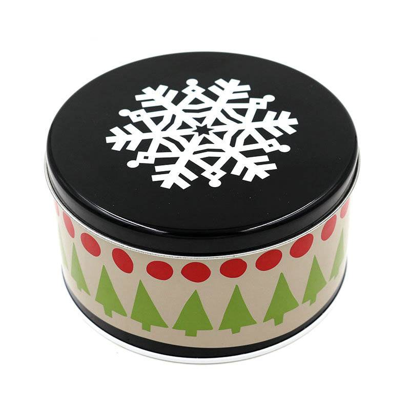 Cute round christmas gift tin boxes,metal tin box for candy/chocolate/cookies