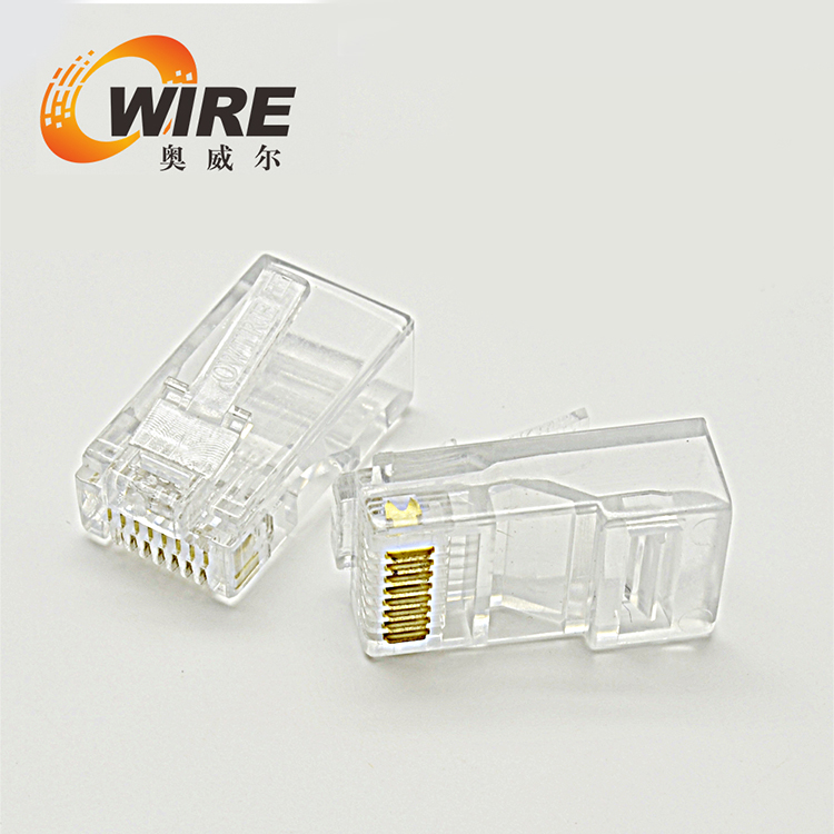 RJ45 gold plated modular plug for Cat5e.
