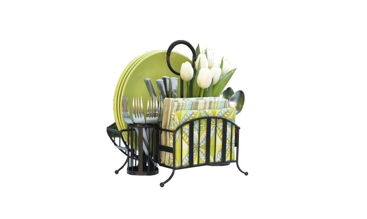 Picnic Utensil Caddy, Basket, Removable handle