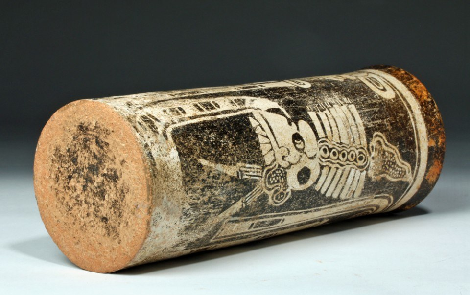 Tall Mayan Codex Pottery Cylinder w/ Skeletal God A