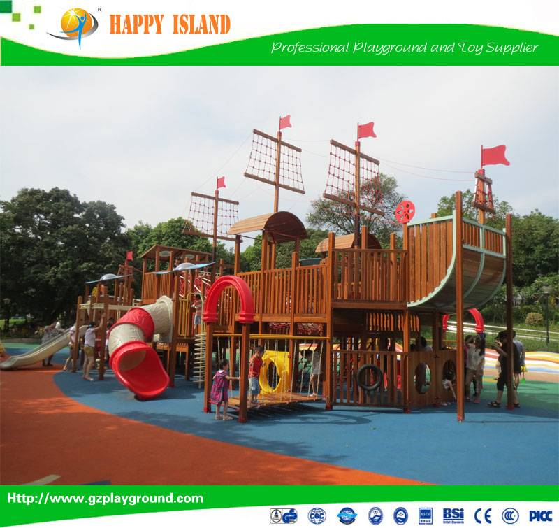 2015 Popular Food Grade Material Kids Pirate Ship Play StructureShip Large Outdoor Playground Slide