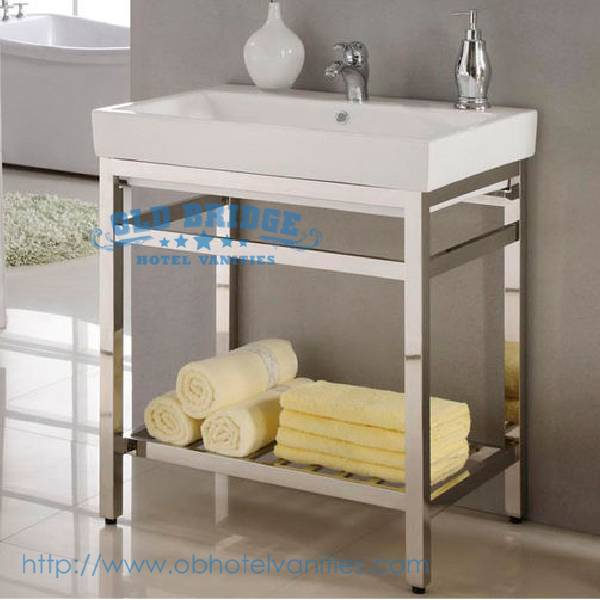 High quality bathroom Metal Vanity with marble