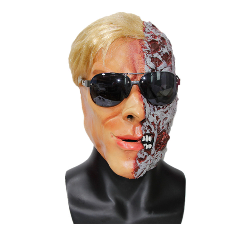 X-MERRY TOY Adults Men's Horror Mask With Hair Novelty Halloween Costume Horror Human Mask New x1000