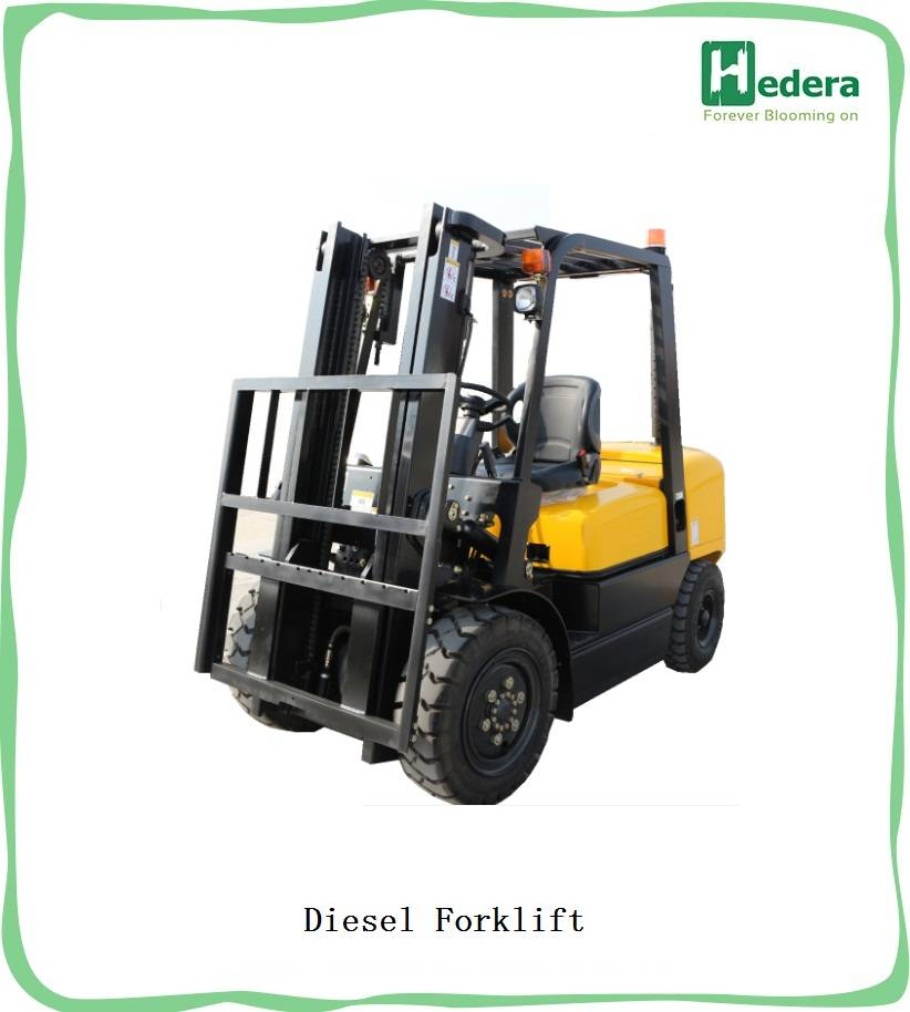 Full free 3stage mast diesel forklift truck