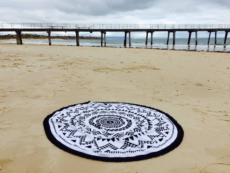 Round Beach Towel with Tassels, 100 Cotton Turkish Printed Beach Towel
