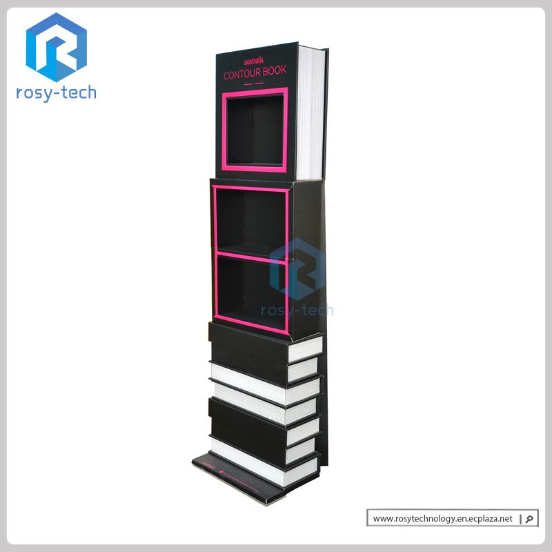 Customized Book Shape Cosmetic Cardboard Display Floor Stand