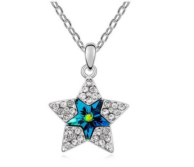 Crystal Five-Pointed Star Pendant Necklace