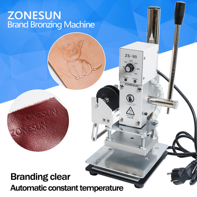 ZONESUN ZS-90 Manual Hot Foil Stamping Marking Machine Leather PVC Printer With Temperature control