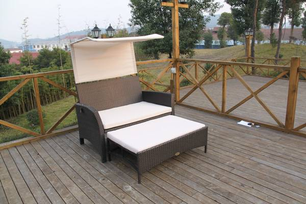 Outdoor wicker rattan sofa sets with ottoman