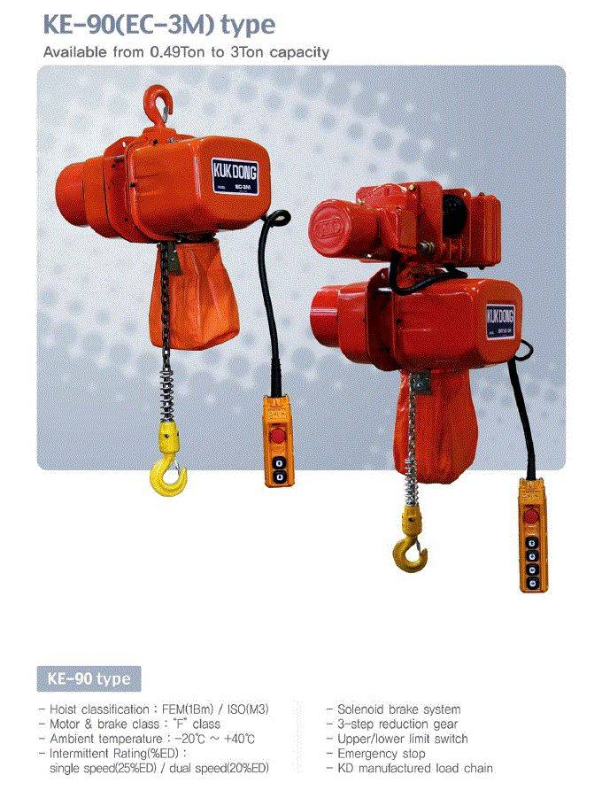 KUKDONG ELECTRIC CHAIN HOIST KE-90 TYPE