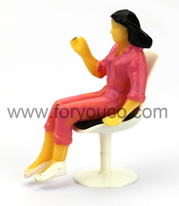 Woman Sitting on Mini Chair Tulip Chair for Architectural models Design