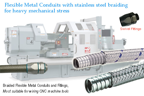 heavy series over Braided Flexible metal conduit heavy series conduit swivel fittings for CNC wiring