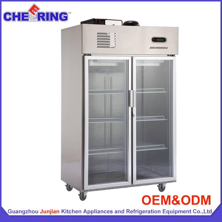 stainless steel  glass door display refrigerator